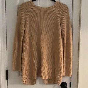 Open back oversized camel sweater